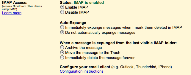 Gmail's IMAP Settings