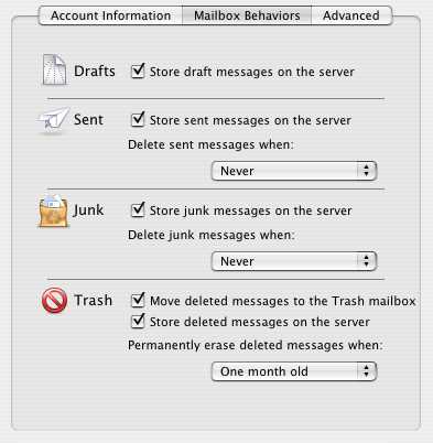 Mail.app v2 Mailbox Behavior Settings